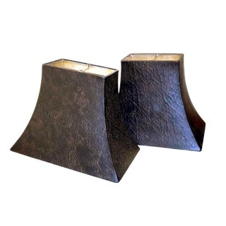 Faux Espresso Leather & Parchment Lined Rectangular Fiberglass Lamp Shades - a Pair For Sale