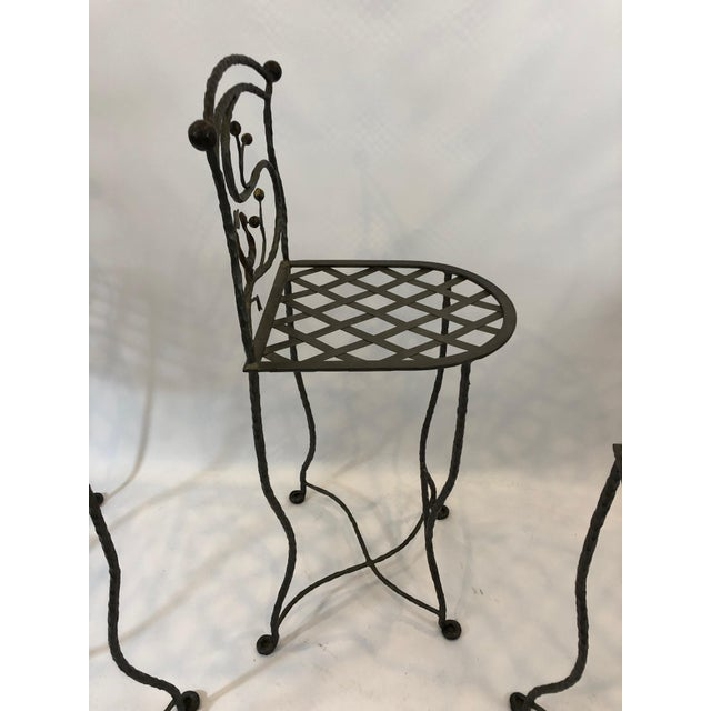Traditional 1980s Vintage Giacometti Style Whimsical Hand Forged Iron Counter Stools - Set of 5 For Sale - Image 3 of 11