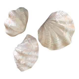 Nesting Ceramic Clam Shell Bowls- Set of 3 For Sale