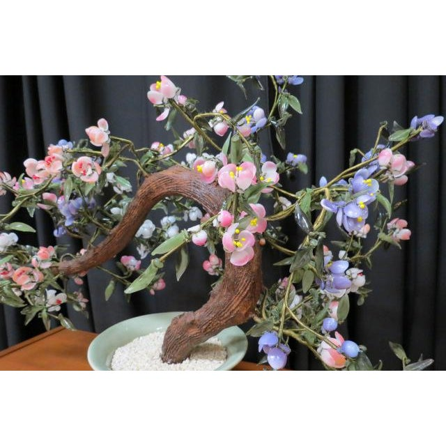 Vintage Mid Century Modern Faux Chinese Jade Bonsai Tree in Planter For Sale - Image 4 of 5