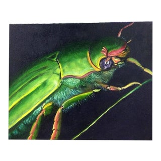 Original Vintage Preppy Beetle Insect Oil Painting on Canvas For Sale