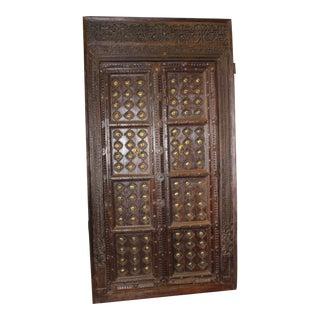 Antique Indian Brass Medallion Carved Teak Haveli Double Doors For Sale