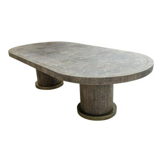 Fabulous 9 Foot Oval Black Shagreen Dining Table For Sale