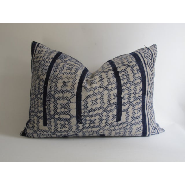Vintage Blue Shibori Fabric Pillow - Image 3 of 5