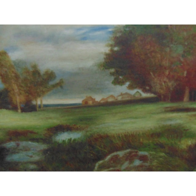 Country 1950s Vintage Oil on Board Landscape Painting For Sale - Image 3 of 6