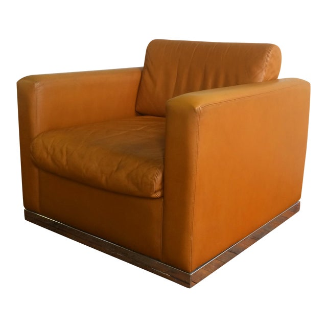 John Geiger Camel-Colored Leather Club Chair - Image 1 of 8