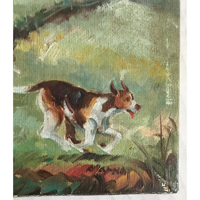 Equestrian Steeplechase with Hunting Hounds Petite Oil Painting - Image 7 of 9