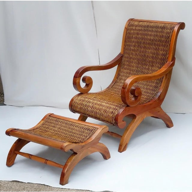 Wood 1960's Vintage West Indies British Colonial Style Teak & Cane Plantation Chair & Ottoman For Sale - Image 7 of 7
