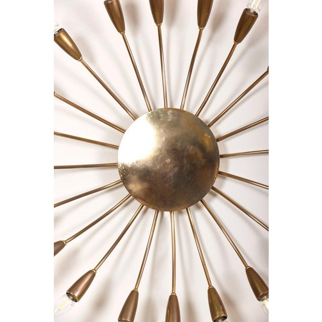 Metal Huge Brass Flush Mount or Wall Lamp Attributed to Stilnovo For Sale - Image 7 of 10