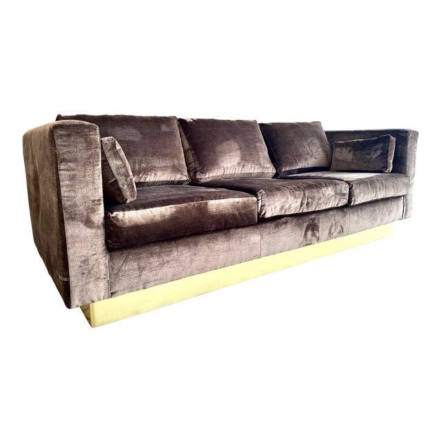 Newly Reupholstered Velvet Tuxedo Sofa For Sale