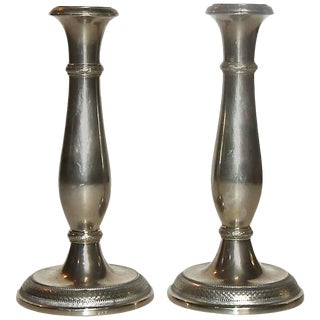19th Century Empire Berndorf Candlestick Holders - a Pair