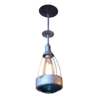 Industrial Metal & Teal Glass Light For Sale