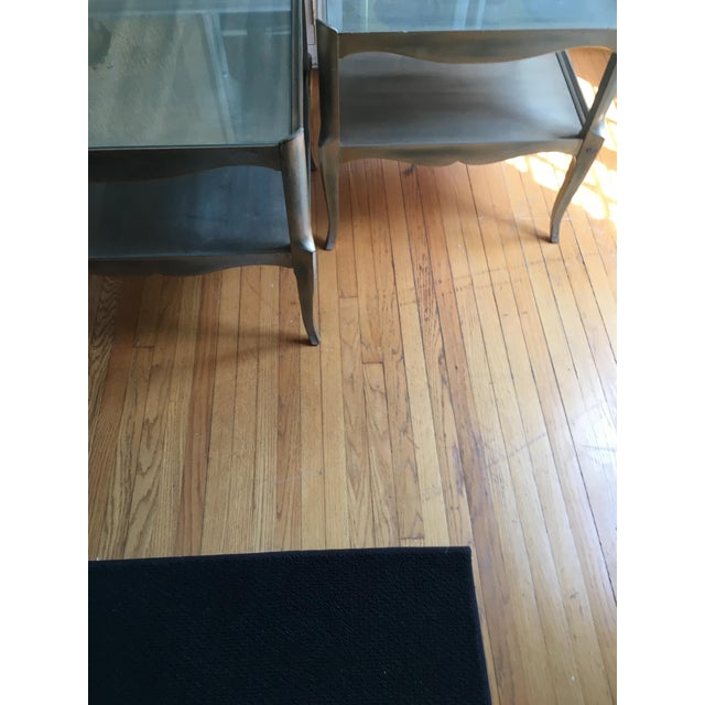 Brown Leafed Glass Top Side Tables - a Pair For Sale - Image 8 of 13