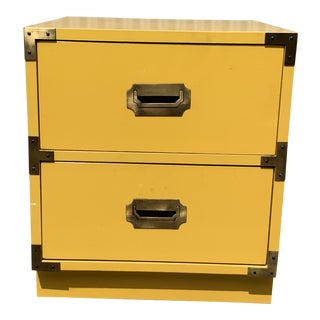 1960s Campaign Style Yellow Nightstand For Sale