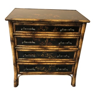 Faux Bamboo Chinoiserie Decorated Chest of Drawers Commode For Sale