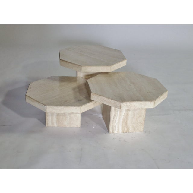 Stone Trio of Travertine Tables With Hexagon Shape-Tops For Sale - Image 7 of 9