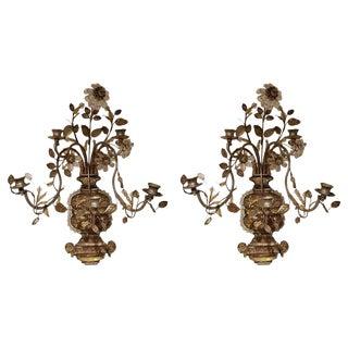 Louis XVI Style Tole Girandoles 19th Century For Sale