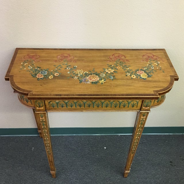 Hand-Painted Floral Console Table - Image 4 of 11