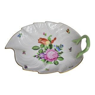 Vintage Herend Hand Painted Floral Leaf Dish For Sale