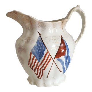 """Antique Flag """"Remember the Maine"""" Pitcher"""