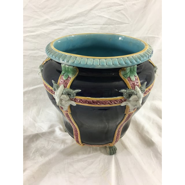 This fabulous Majolica cachepot would make a phenomenal centerpiece for any mythology fan or collector of Majolica. In...
