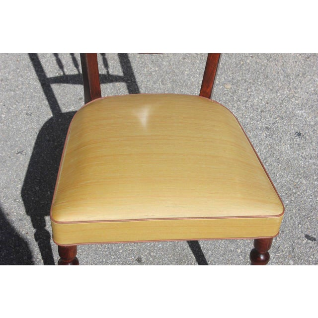 Set of Six French Art Deco Solid Mahogany Dining Chairs, circa 1940s - Image 4 of 9