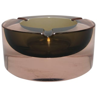 Modern Italian Murano Pink and Grey Sommerso Art Glass Bowl or Ashtray For Sale
