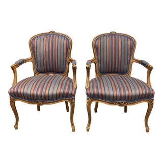 Mid 20th Century French Walnut Arm Chairs- a Pair For Sale
