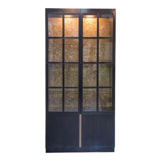 John Whiddicomb Black Laquered Tall Vitrine Cabinet With Bronze Insert For Sale