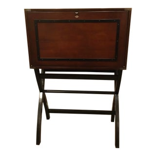 Traditional Mahogany Finished Campaign Cabinet Desk For Sale