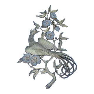 Vintage Syroco Hollywood Regency Gold Peacock Dogwood Flower Wall Hanging For Sale