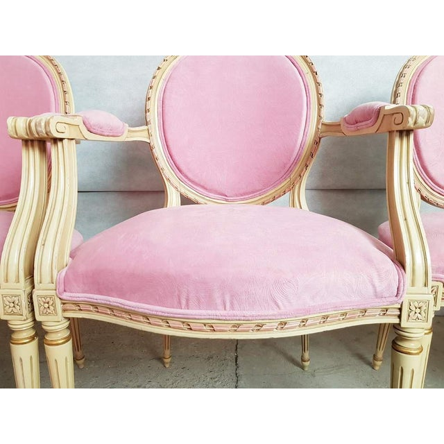 Wood Set of 6 Antique French Louis XVI Restored in Pink Dining Chairs 2 Armchairs 4 Side Chairs For Sale - Image 7 of 13