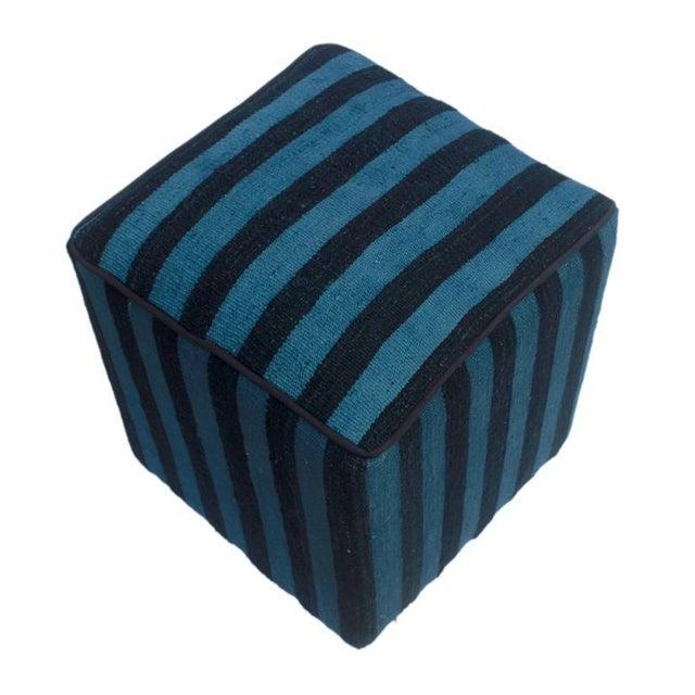 Wood Boho Chic Arshs Donnetta Black/Blue Kilim Upholstered Handmade Ottoman For Sale - Image 7 of 8