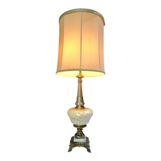 Mid 20th Century Victorian Rococo Northwind Face Brass Table Lamp For Sale