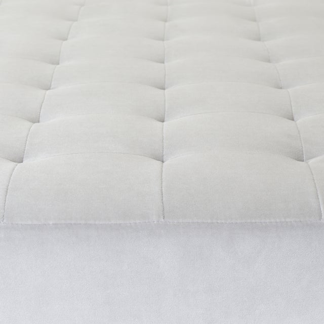 Montage Astor Large Brass Tufted Ottoman in Sharkskin Velvet by Montage For Sale - Image 4 of 8