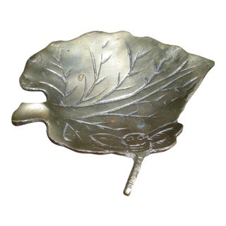 Vintage Dragonfly Leaf Brass Ashtray