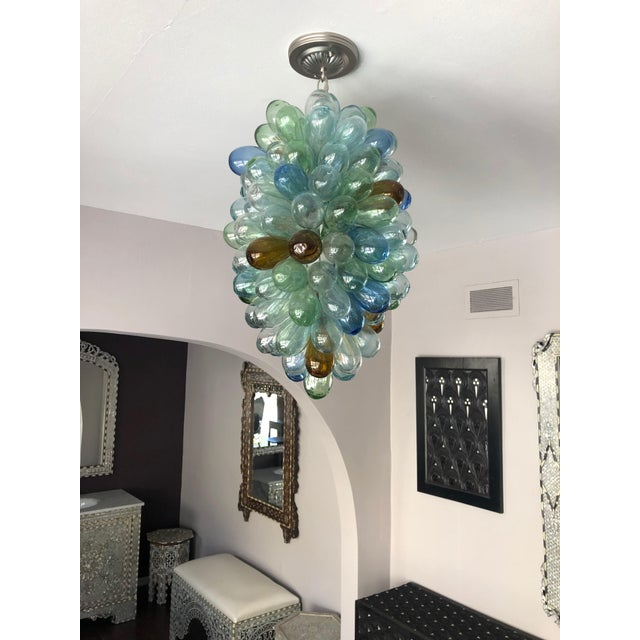 Multicolored Hand-Blown Glass Light Fixture For Sale - Image 4 of 7