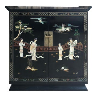 Vintage Chinoiserie Laquer Bar Cabinet For Sale