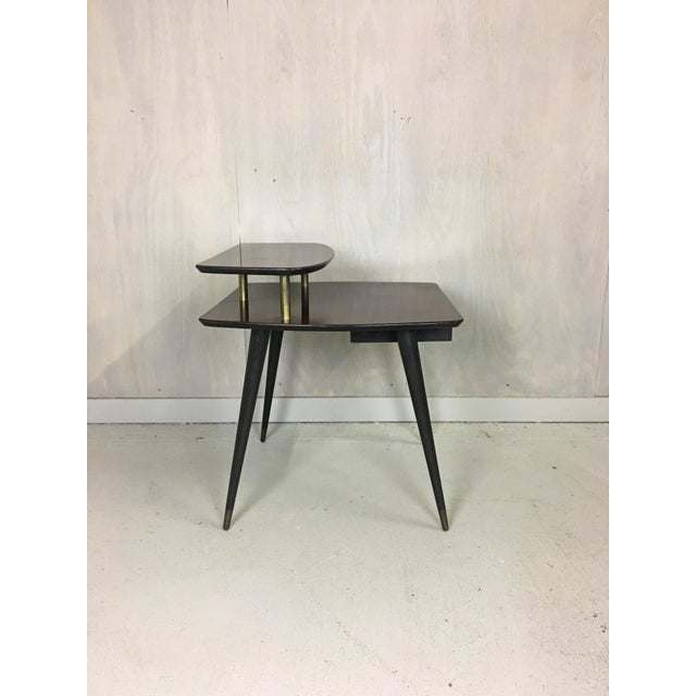 "Danish Modern Tiered ""Mahogany"" Laminate Side Table For Sale - Image 3 of 5"