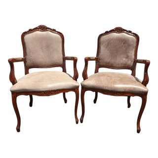 Pair of Vintage French Country Brown Leather Accent Chairs Set 2 For Sale