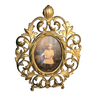 C1890 Painted Iron Victorian Picture Frame with Photograph For Sale
