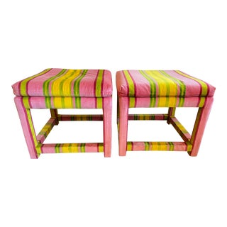 Pair of Velvet Pink and Green Stripe Milo Baughman Style Parson Benches For Sale