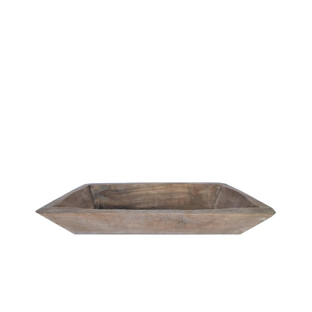 Boho Chic Rustic Hand Carved Farmhouse Dough Bowl Trough For Sale - Image 3 of 3