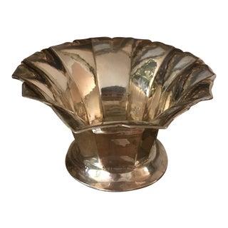 Vintage Mid Century Brass Scalloped Pedestal Bowl Planter For Sale