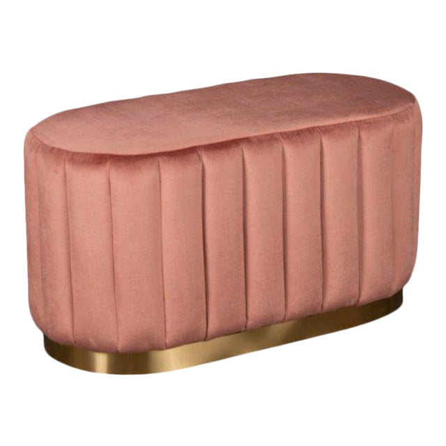 Margot Oval Ottoman in Rose For Sale