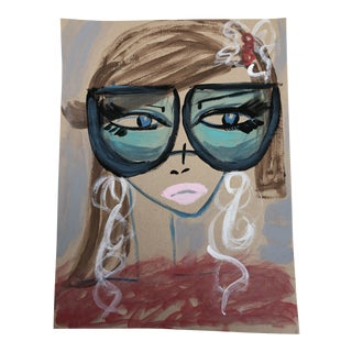 """Anastasia George """"Fuzzy Sweater"""" Original Acrylic Face Painting For Sale"""