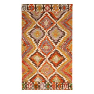 Vintage Mid-Century Denizli Diamond Yellow Multicolor Wool Kilim Rug- 5′3″ × 6′4″ For Sale