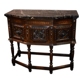 Antique Ruder Brothers Jacobean Style Walnut Marble Top Server For Sale