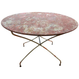 1920s French Iron Folding Garden Table For Sale