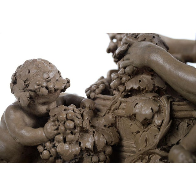 Bacchus & Satyrs eating Grapes and drinking Wine - Gorgeous 19th century Terracotta sculpture by French artist Clodion-Signed For Sale - Image 4 of 10